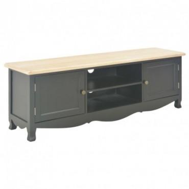 Meuble TV Noir en bois avec pieds en pin 120x30x40cm