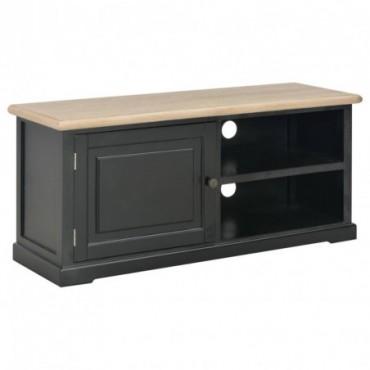 Meuble TV Noir en bois avec placard et étagère 90x30x40cm