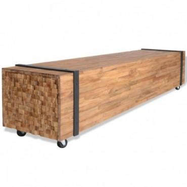 Meuble TV en teck avec ceintures de bois 150x30x30cm