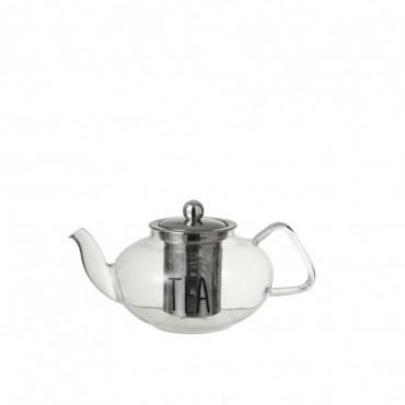 Theiere + Infuseur Tea Verre/Acier Inoxydable Transparent/Noir