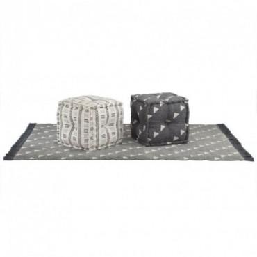 Ensemble de pouf et tapis 3 pièces en tissu à rayures