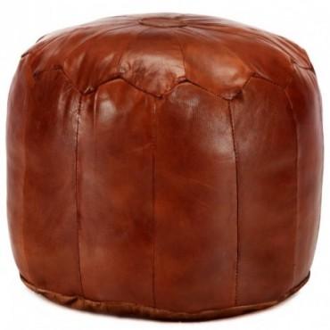Pouf Brun roux en cuir véritable de chèvre 40x35cm