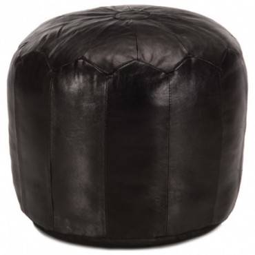 Pouf Noir en cuir véritable de chèvre 40x35cm