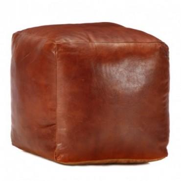 Pouf Brun roux en cuir véritable de chèvre 40x40x40cm