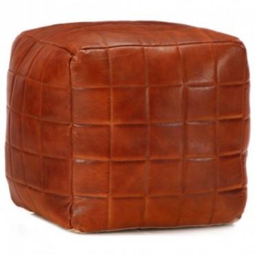 Pouf Brun roux en cuir véritable de chèvre avec motifs carrés...