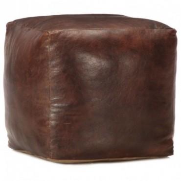 Pouf Marron foncé en cuir véritable de chèvre 40x40x40cm