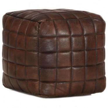 Pouf Marron foncé en cuir véritable de chèvre avec motifs carrés...