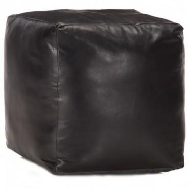 Pouf Noir en cuir véritable de chèvre 40x40x40cm