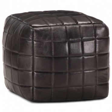 Pouf Noir en cuir véritable de chèvre avec motifs carrés 40x40x40cm