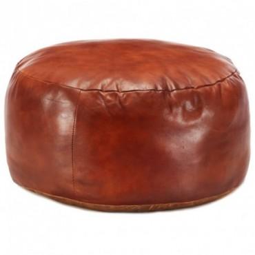 Pouf Brun roux en cuir véritable de chèvre 60x30cm