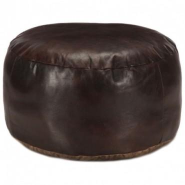 Pouf Marron foncé en cuir véritable de chèvre 60x30cm