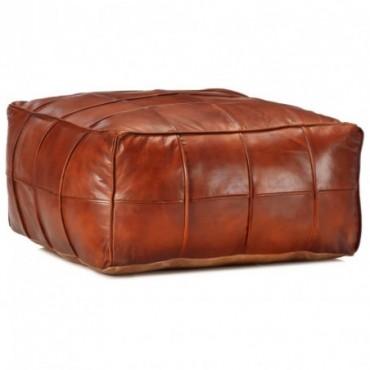 Pouf Brun roux en cuir véritable de chèvre 60x60x30cm