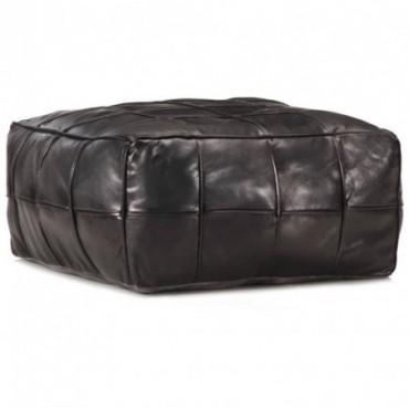 Pouf Noir en cuir véritable de chèvre 60x60x30cm