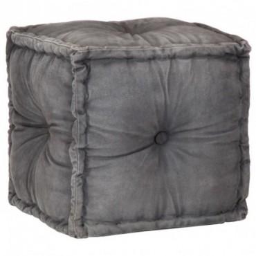 Pouf Anthracite en coton Toile 40x40x40cm