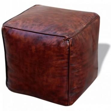 Pouf en cuir véritable Carré Marron 45x45x45cm