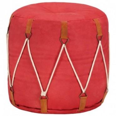 Pouf Rouge en toile de coton 40x40cm