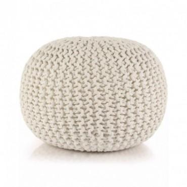 Pouf tricoté à la main en coton Blanc 50x35cm