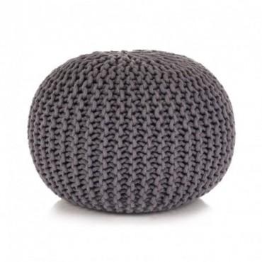 Pouf tricoté à la main en coton Gris 50x35cm