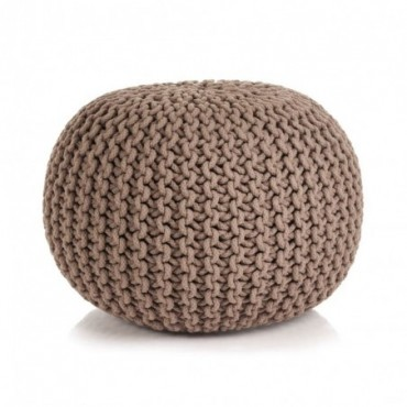 Pouf tricoté à la main en coton Marron 50x35cm