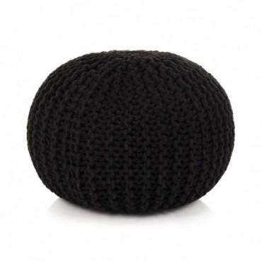 Pouf tricoté à la main en coton Noir 50x35cm