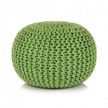Pouf tricoté à la main en coton Vert 50x35cm