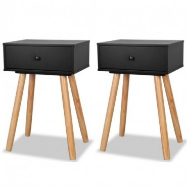 Table de chevet 2 pièces en bois de pin massif Noir 40x30x61cm