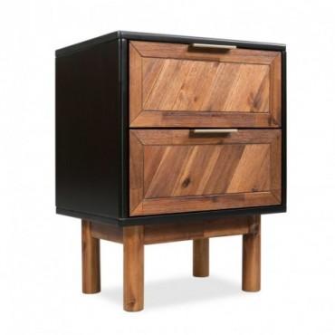 Table de chevet en bois d'acacia massif 40x30x53cm