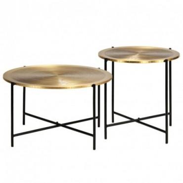 Tables x 2 en bois recouvertes de laiton