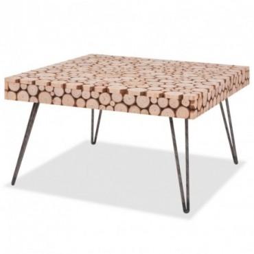 Table basse en bois véritable 60,8x60,8x34,5cm