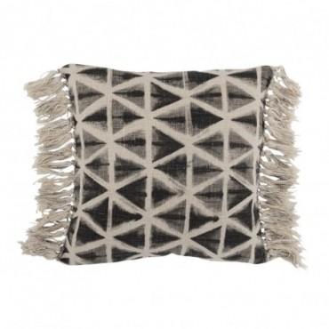 Coussin Triangles Pompon Coton Noir/Blanc