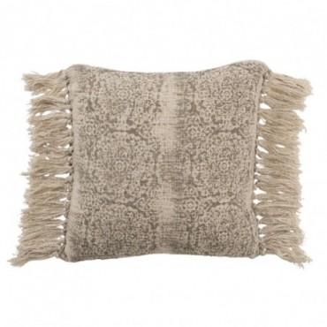 Coussin Oriental Pompon Coton Marron