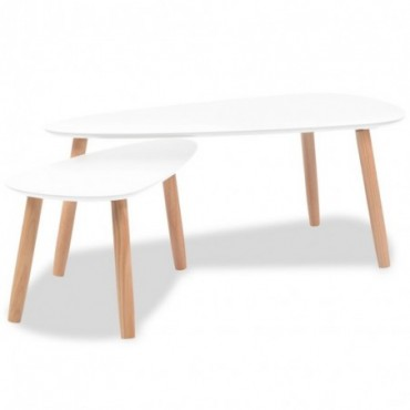 Tables gigognes scandinaves en bois de pin massif Blanc