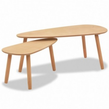 Tables gigognes scandinaves en bois de pin massif Marron