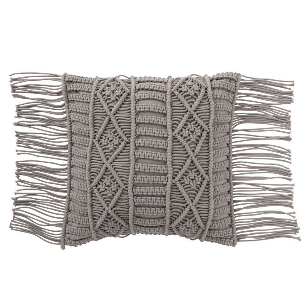Coussin Macrame Coton Taupe