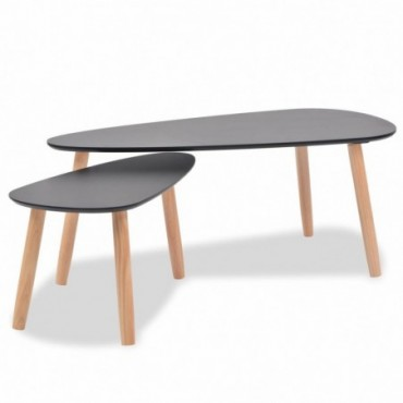 Tables gigognes scandinaves en bois de pin massif Noir