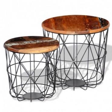 Tables gigognes rondes en bois recyclé avec pied métallique 35cm /45cm