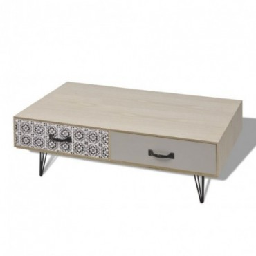 Table basse scandinave beige 100x60x35cm