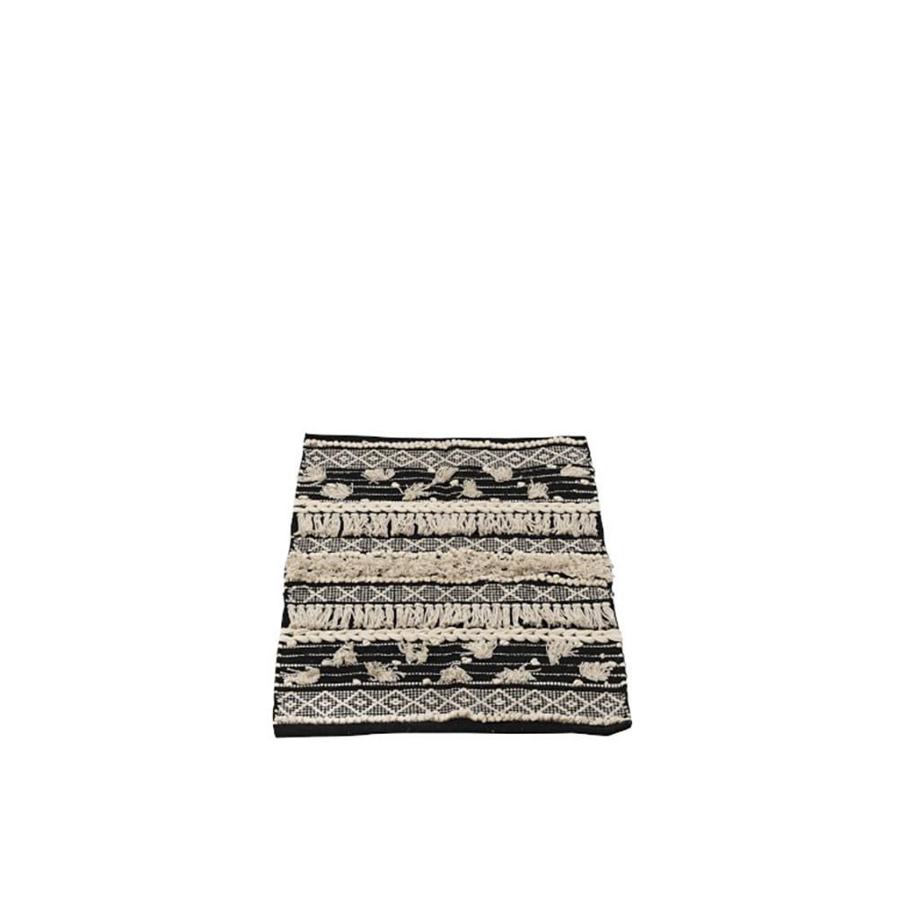 Tapis Monochrome Carre Coton Noir/Blanc