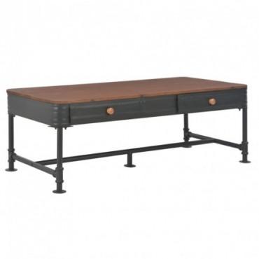 Table basse avec 2 tiroirs en bois de sapin massif 115x55x40cm