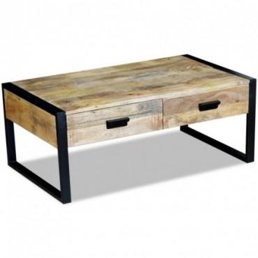 Table basse avec 2 tiroirs en bois de manguier massif 100x60x40cm