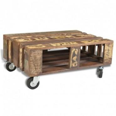 Table basse palette avec 4 roulettes en bois recyclé