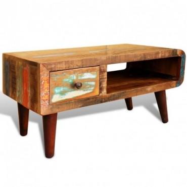 Table basse avec bord incurvé et 1 tiroir en bois de récupération