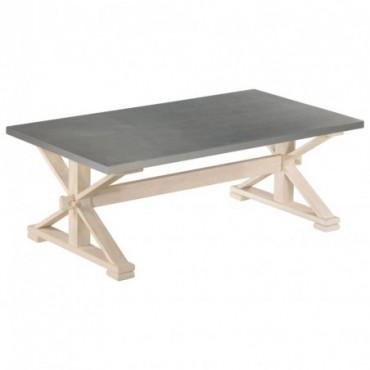 Table basse avec dessus en zinc et pieds en bois de manguier...