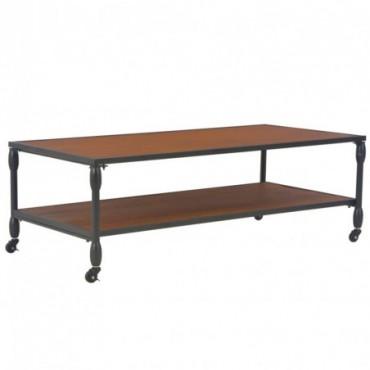 Table basse avec étagère en bois de sapin massif 120x60x40cm
