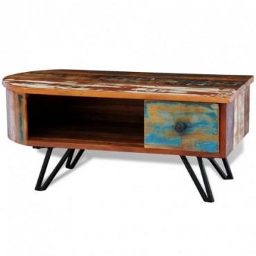 Table basse avec pieds en fer en bois massif de récupération
