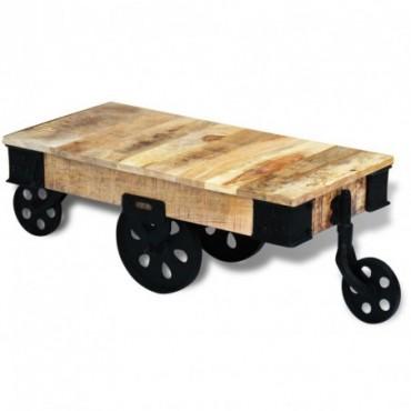 Table basse avec roues en bois de manguier brut