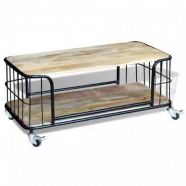 Table basse en bois de manguier massif avec roulettes 100x50x35cm