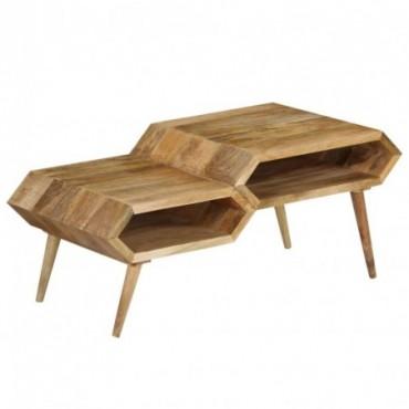 Table basse en bois de manguier massif 2 niveaux 104x50x45cm