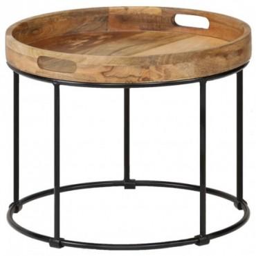 Table basse en bois plateau de manguier massif et pieds en acier...
