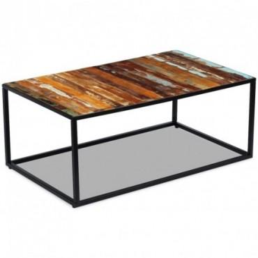 Table basse en bois massif de récupération 100x60x40cm